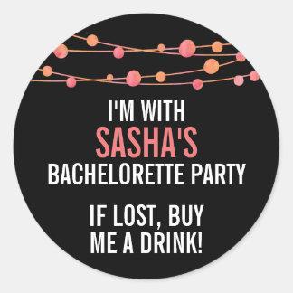 Coral Confetti Personalized Bachelorette Party Classic Round Sticker
