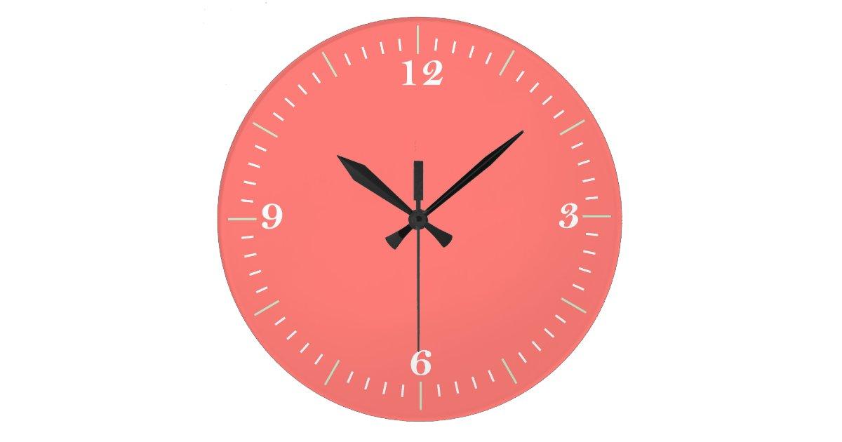 Coral Coral Wall Clock Zazzle Com