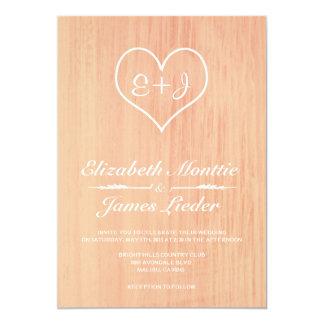 "Coral Country Wedding Invitations 5"" X 7"" Invitation Card"