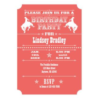 Coral Cowboy Rodeo Birthday Party Invitation