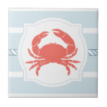 Coral crab nautical style stripes ceramic tile
