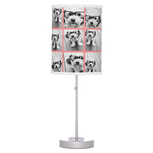 Coral Create Your Own Photo Collage Desk Lamp Zazzle