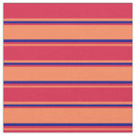 [ Thumbnail: Coral, Crimson, and Blue Colored Lines Pattern Fabric ]