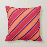 [ Thumbnail: Coral, Crimson, and Blue Colored Lines Pattern Throw Pillow ]