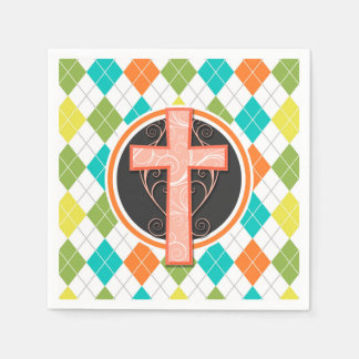 Coral Cross on Colorful Argyle Pattern Napkin