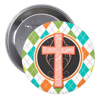 Coral Cross on Colorful Argyle Pattern Pinback Button