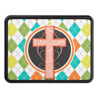 Coral Cross on Colorful Argyle Pattern Hitch Covers