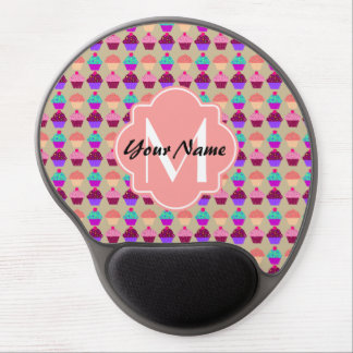 Coral Cupcake Personalized Name, Custom Monogram Gel Mouse Pad