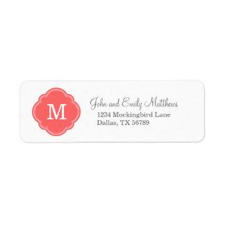 Coral Custom Personalized Monogram Return Address Label