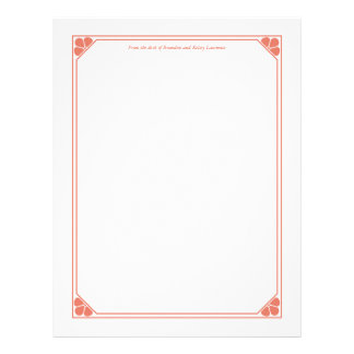 Coral Custom Stationery w/ Signature Heading Text