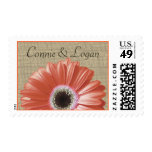 Coral Daisy and Burlap Wedding Postage
