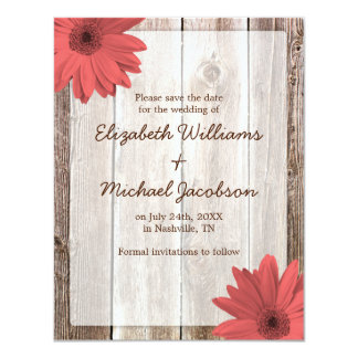 Coral Daisy Barn Wood Save the Date Announcement
