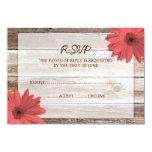 Coral Daisy Barn Wood Wedding RSVP Response Card
