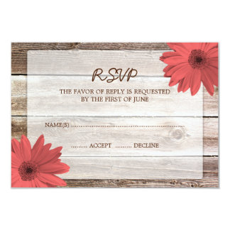 Coral Daisy Barn Wood Wedding RSVP Response Card