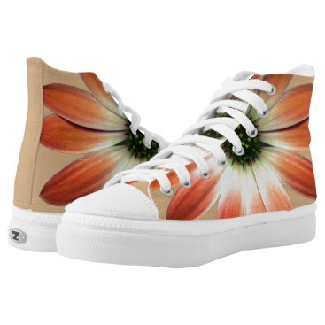 Coral Daisy on Shell background High-Top Sneakers