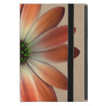 Coral Daisy on Shell Leather Texture iPad Mini Covers