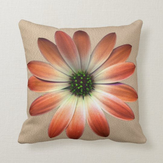 Coral Daisy on Shell Leather Texture Throw Pillow