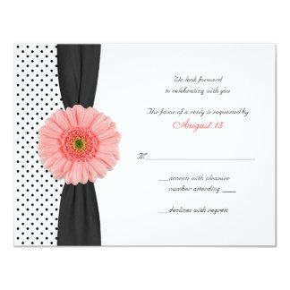 Coral Daisy Polka Dot Ribbon RSVP Card