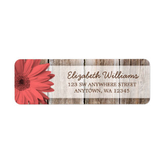 Coral Daisy Rustic Barn Wood Label
