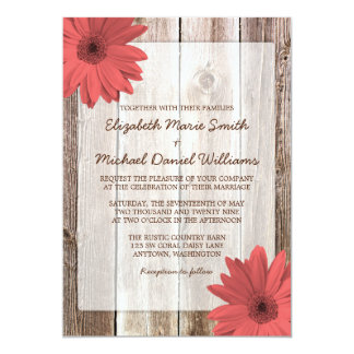 Coral Daisy Rustic Barn Wood Wedding Invitation