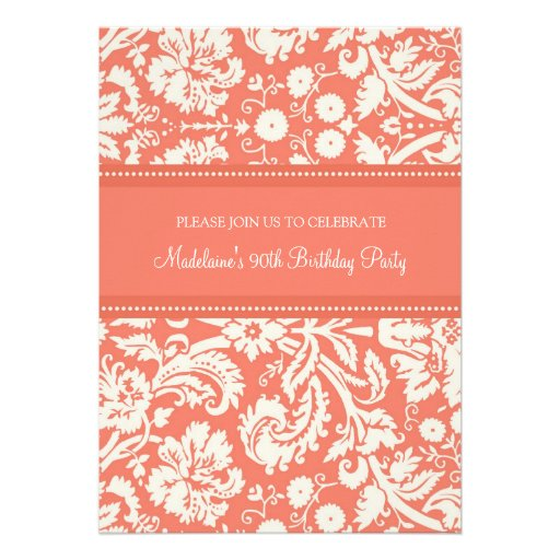 Coral Damask 90th Birthday Party Invitations