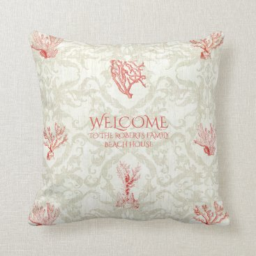 Beach Themed Coral Damask Beach House Welcome Sign Family Name Throw Pillow