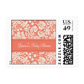 Coral Damask Custom Baby Shower Stamps