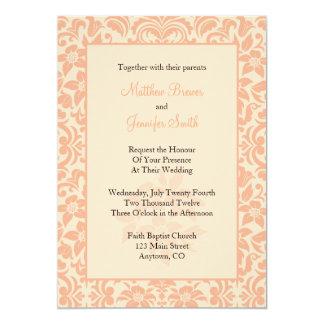 "Coral Damask Custom Wedding Invitation 5"" X 7"" Invitation Card"
