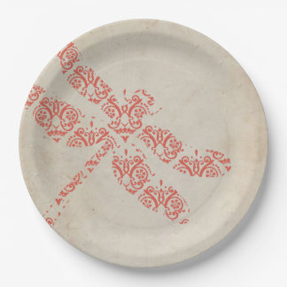 Coral Damask Dragonfly Wedding 9 Inch Paper Plate