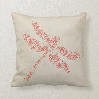 Coral Damask Dragonfly Wedding Throw Pillow