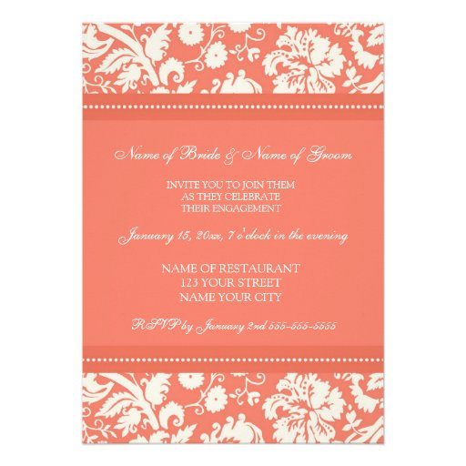 Coral Damask Engagement Party Invitations