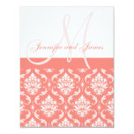 """Coral Damask Monogram Names RSVP Reply Cards 4.25"""" X 5.5"""" Invitation Card"""