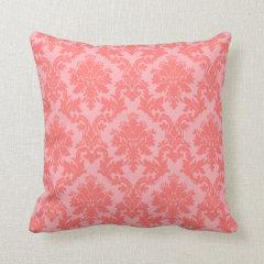 Coral Damask Pattern Throw Pillows