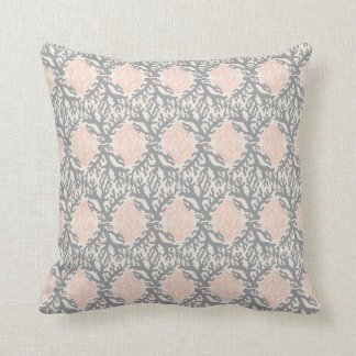 Coral Damask Peach and Gray Throw Pillow
