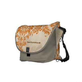 Coral Damask Personalized Tea Stained Background Courier Bag