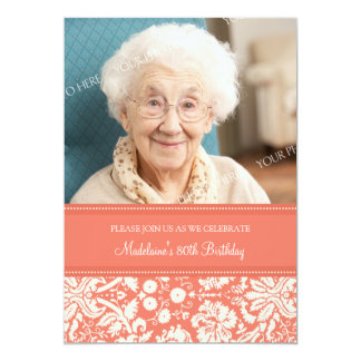 Coral Damask Photo 80th Birthday Party Invitations