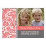 Coral Damask Photo Happy Mother's Day Card