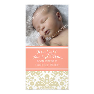 Coral Damask Photo New Baby Birth Announcement Photo Card