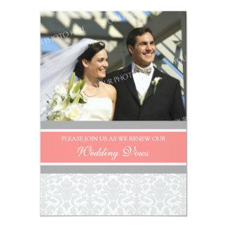 "Coral Damask Photo Wedding Vow Renewal Invitations 5"" X 7"" Invitation Card"