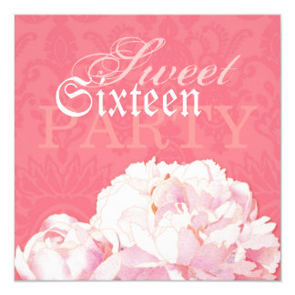 Coral Damask & Pink Peony Sweet 16 Birthday Invite