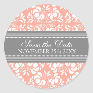 Coral Damask Save the Date Envelope Seal