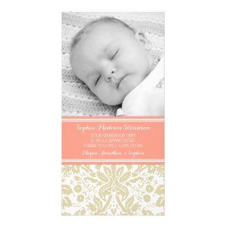 Coral Damask Thank You Baby Shower Photo Cards