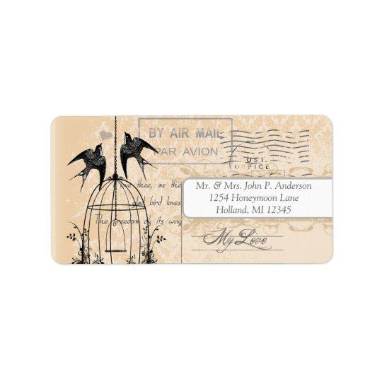 Coral Damask Vintage Bird Cage Air Mail Love Poem Label