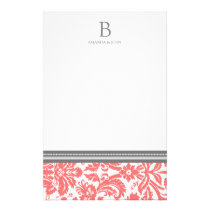 Coral Damask Wedding Monogram Stationery