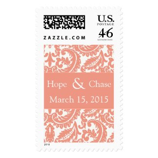 Coral Damask Wedding Stamp zazzle_stamp
