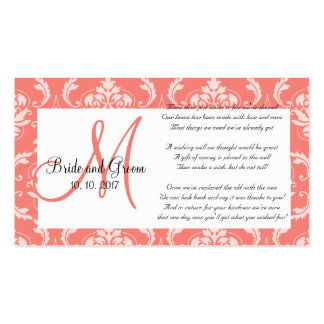 Coral Damask Wedding Wishing Well Card Business Card