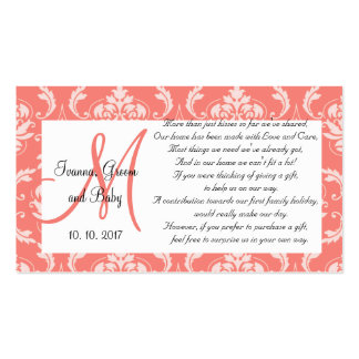 Coral Damask Wedding Wishing Well Cards 2 Business Card Template