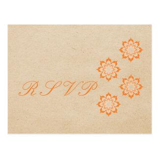 Coral Daring Floral Blooms RSVP Postcard