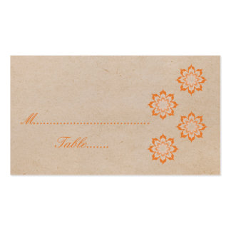 Coral Daring Floral Blooms Wedding Place Card Business Card Templates