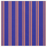 [ Thumbnail: Coral & Dark Blue Colored Striped Pattern Fabric ]